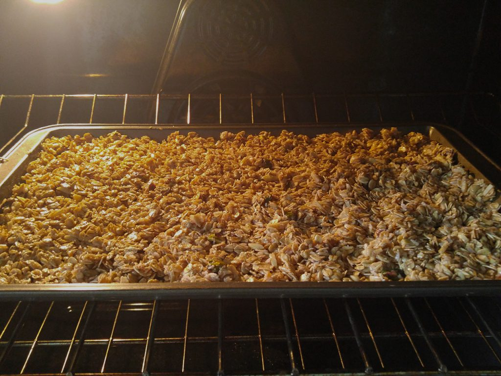 Homemade Granola Recipe Step Five: Bake for 45 minutes at 300°C.
