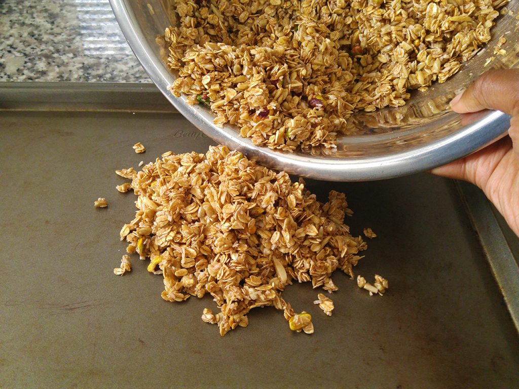 Homemade Granola Recipe Step Four: Spread Granola Mixture onto Baking Sheet